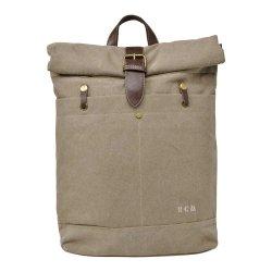 """Σακίδιο Πλάτης Roll Top Laptop 15,6"""" RCM 16950 Canvas Bag Μπεζ"""